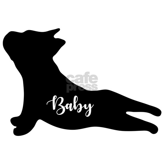 Bulldog Puppy Silhouette doing Yoga. Gifts for bab