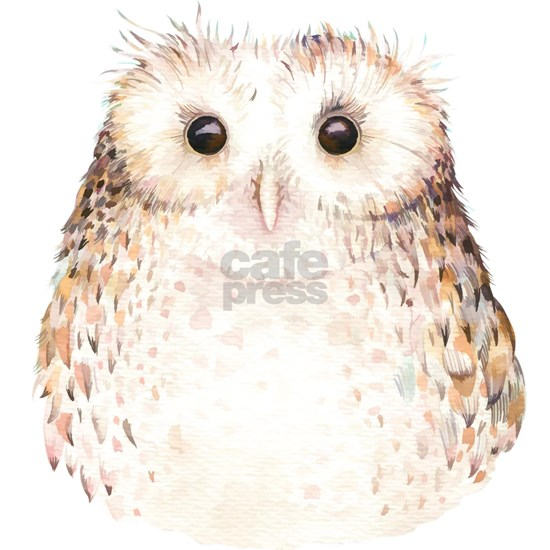 Cute Fluffy Baby Owl Watercolor