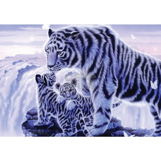 White Tigress And Her Cubs
