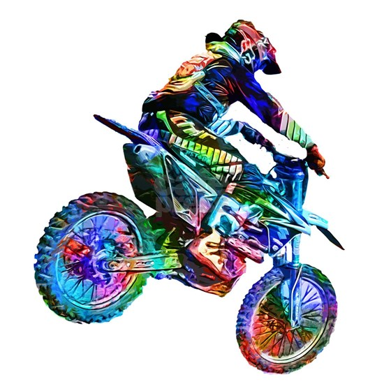 Super Crayon Colored Dirt Bike Careening Downhill