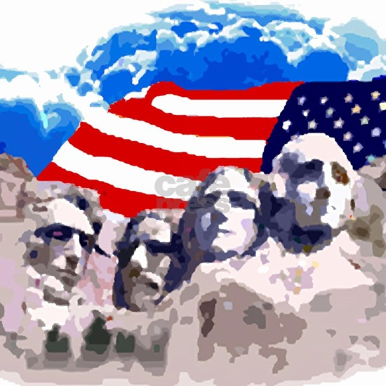 Mount Rushmore with American Flag