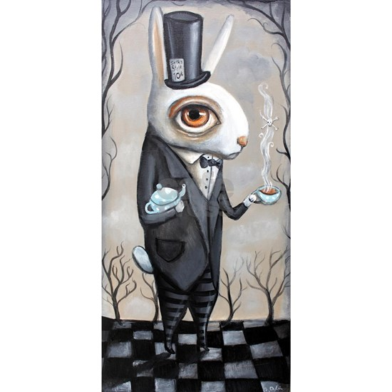 White Rabbit with Tea and Top Hat
