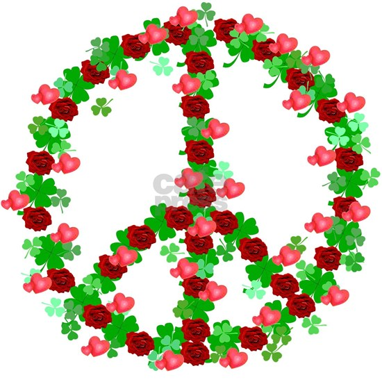 Roses and Clover Peace Sign