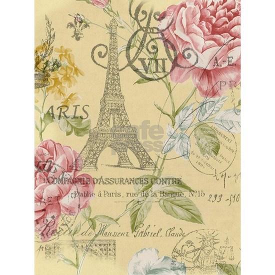 abstract paris eiffel tower vintage floral