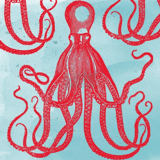 Red Antique Octopus on Watercolor Background
