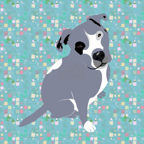 Cute grey pit Bull square pattern