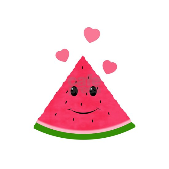 Cartoon Watermelon With Red Hearts
