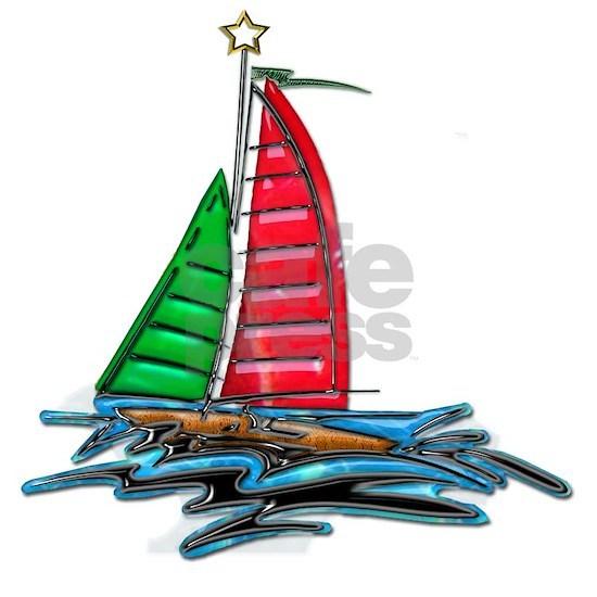Red and Green Xmas Sailboat