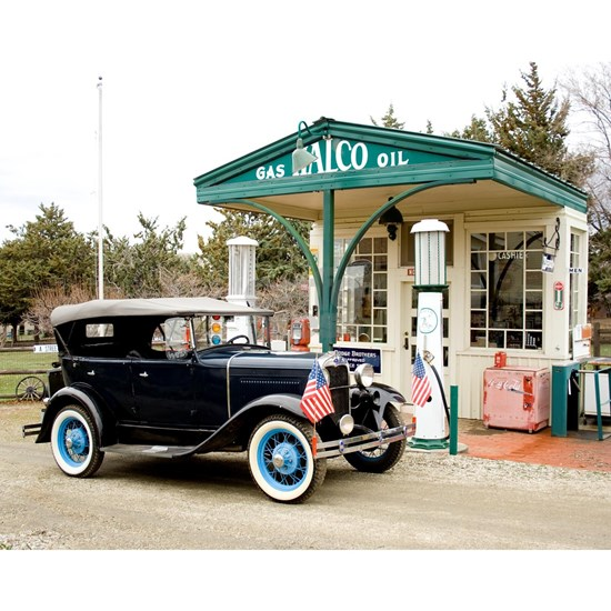 Model A at gas station