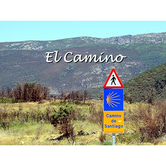 El Camino sign, Spain (caption)
