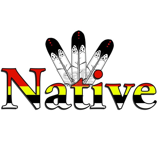 Native text with Eagle Feathers