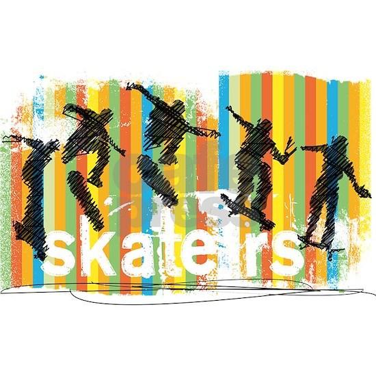 Ink Sketch of Skateboarder Progressive Sequence of