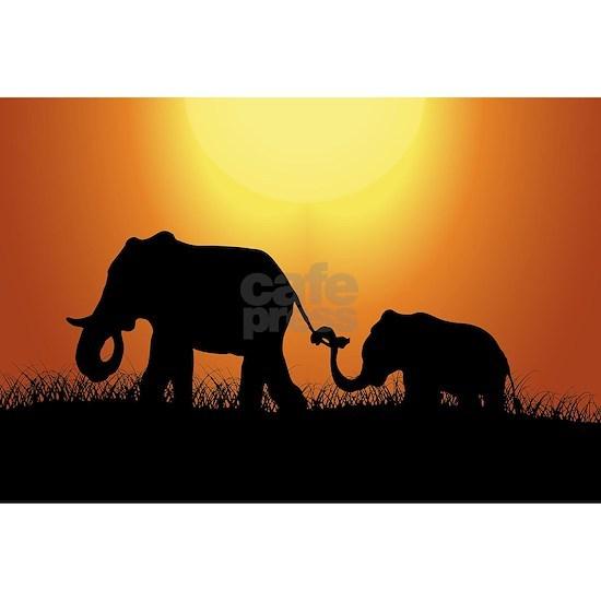African Sunset Elephants