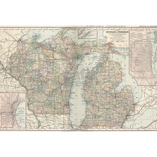 Vintage Map of Michigan and Wisconsin (1891)