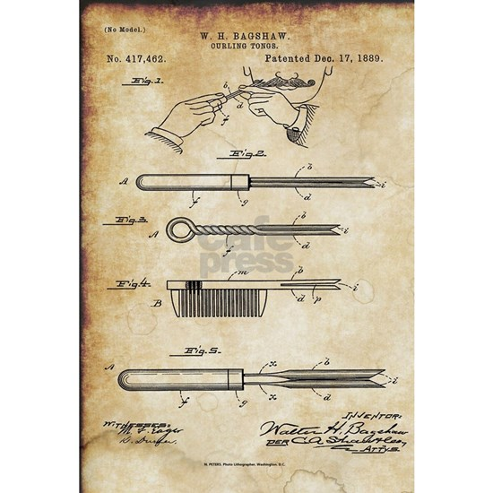 1889 Patent for Curling Tongs - Vintage