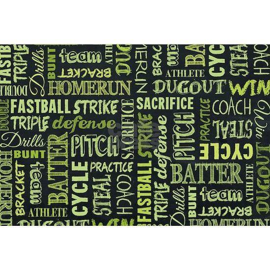 Fastpitch Softball Game Chalkboard Words