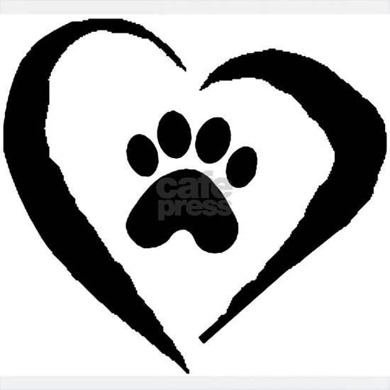 Paw  Heart- BW