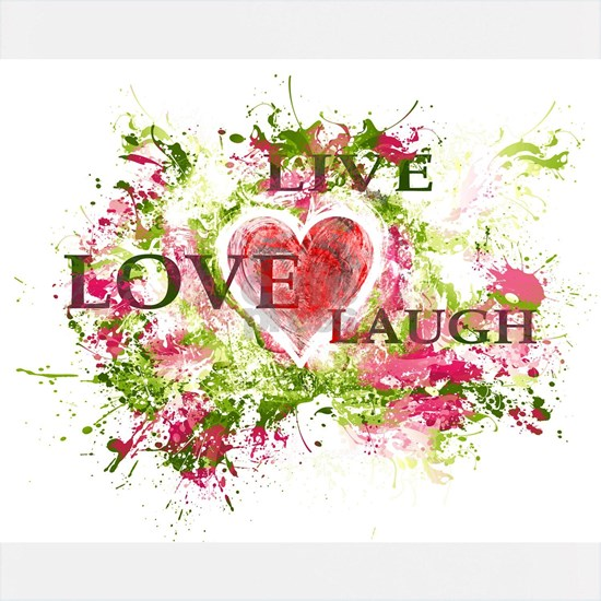 LIVE LOVE LAUGH HEART Green and Fuchsia