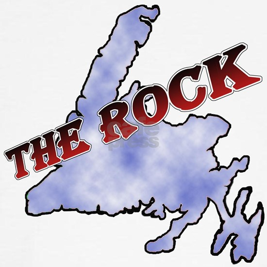 The Rock with sky texture Island and red lettering