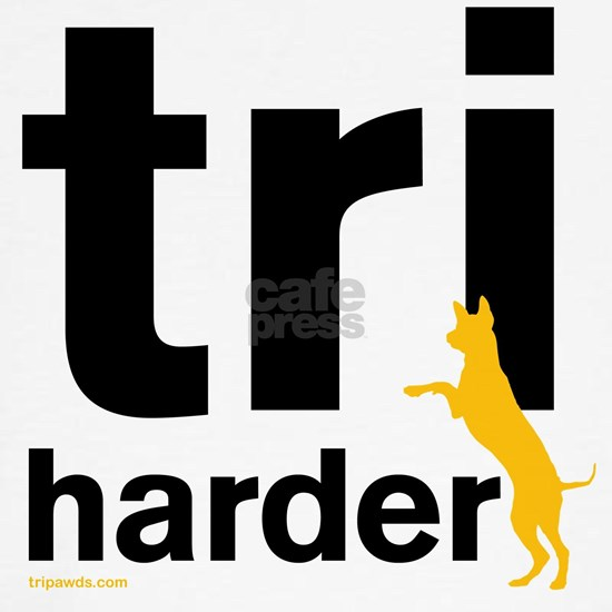 Tri Harder Three Legged GSD White BKG