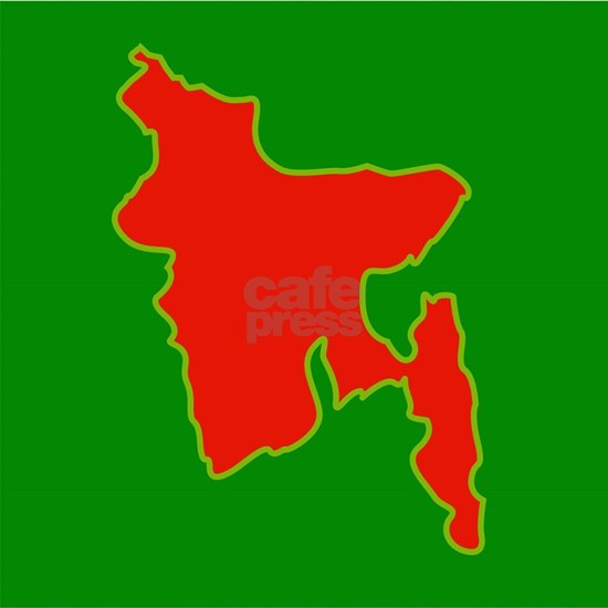 Map of Bangladesh with in red and green colors