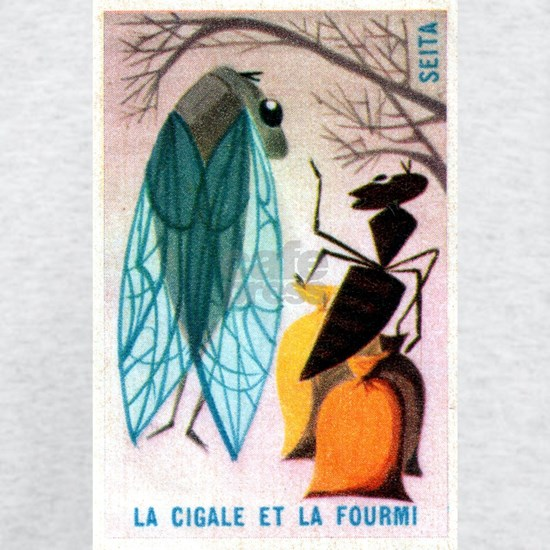 The Cicada and The Ant Matchbox French Label