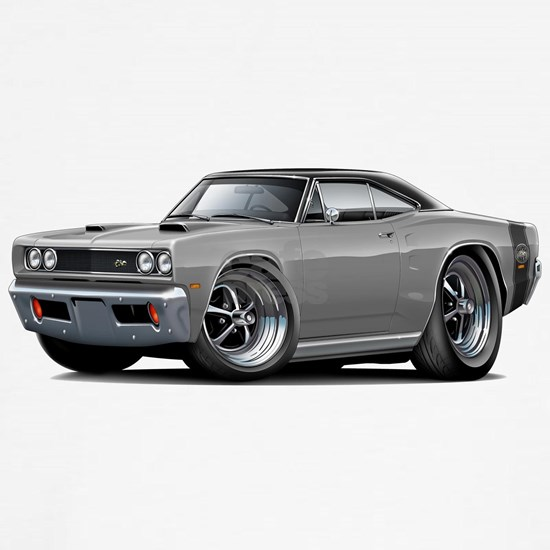 1969 Super Bee Grey-Black Top Double Scoop Hood.p