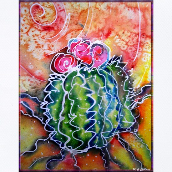 Colorful cactus, southwest desert art