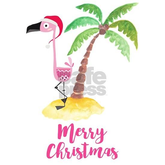Pink Flamingo and Palm Tree Christmas Illustration