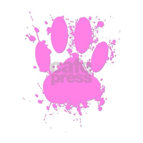 Pink Paint Splatter Dog Paw Print