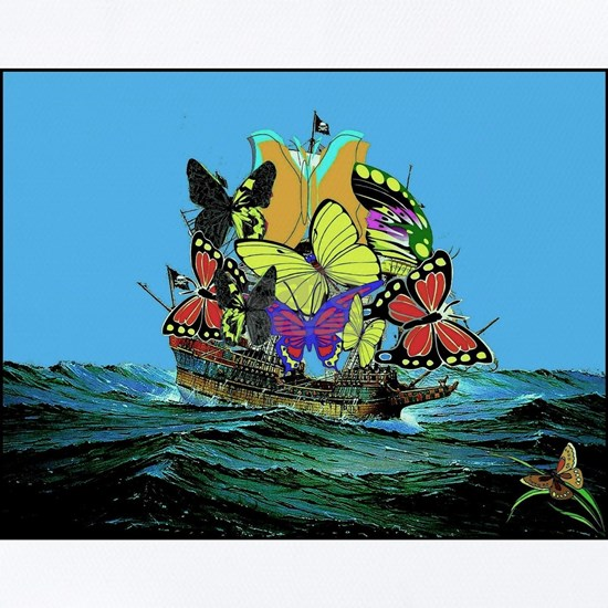 Butterfly Sailing Pirate Ship Print