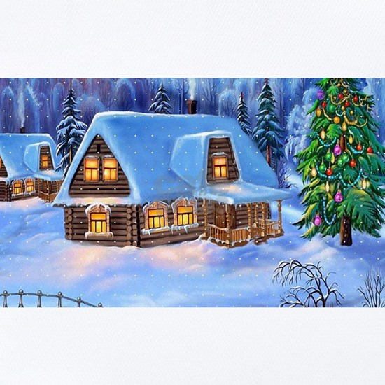 Log Cabin And Christmas Tree During Winter