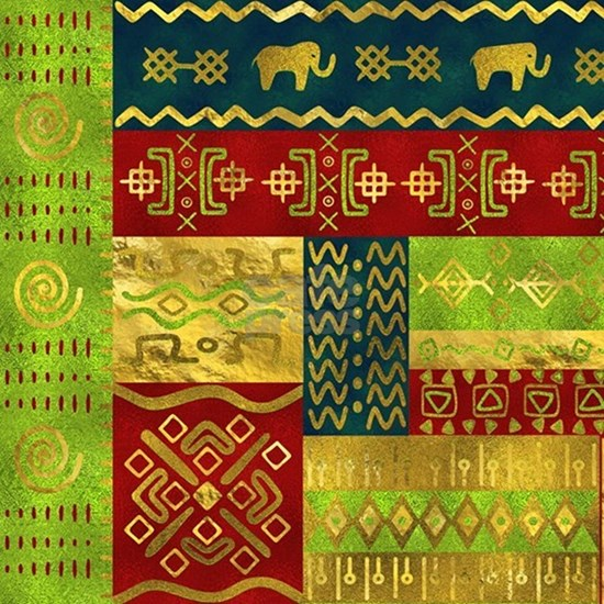 Ethnic African Golden Pattern on color