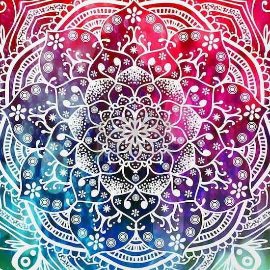 Namaste Red Purple Pink Blue Mandala