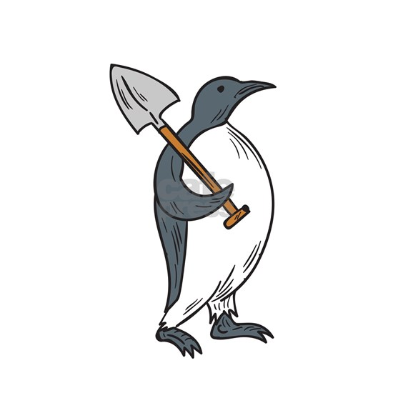 Emperor Penguin Holding Shovel Drawing