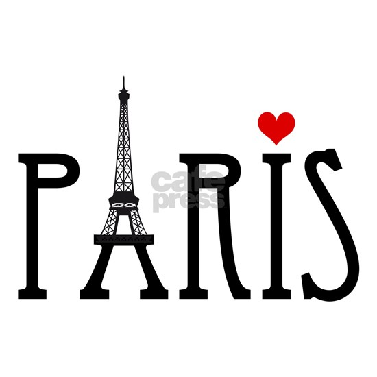 Love Paris with Eiffel tower and red heart