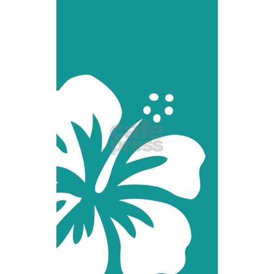 Tropical Teal Blue Green and White Hibiscus