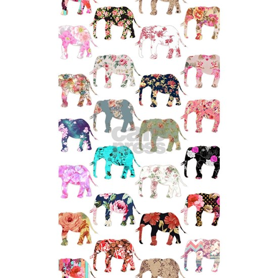 Girly Whimsical Retro Floral Elephants Pattern