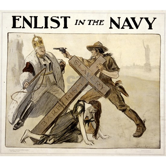 enlist in the navy - louis raemaekers - 1917 - pos