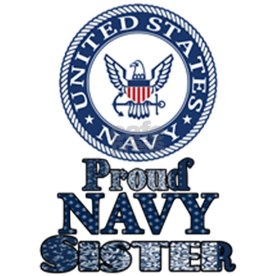 Proud Navy Sister retro fabric collage