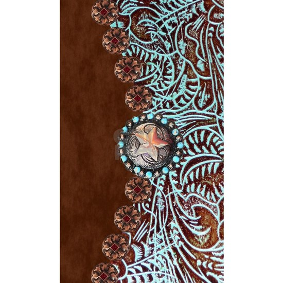Western turquoise tooled leather