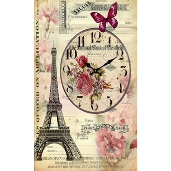 vintage clock paris eiffel tower landscape