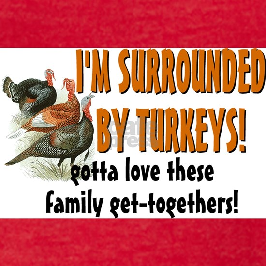 surrounded by turkeys