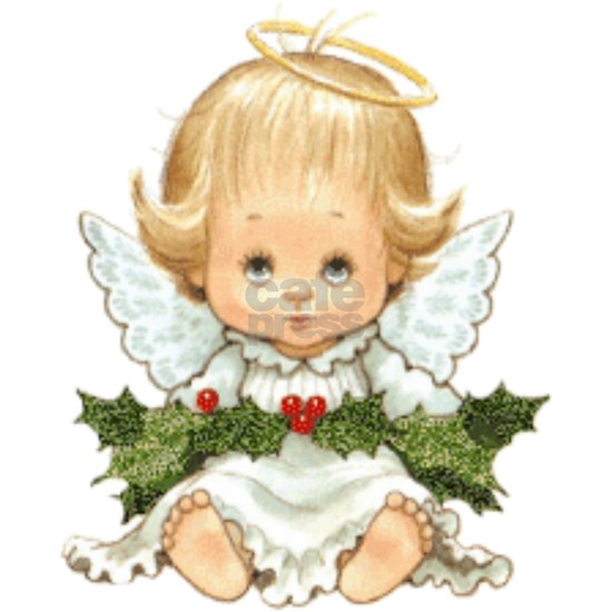 Cute Christmas Baby Angel and Holly