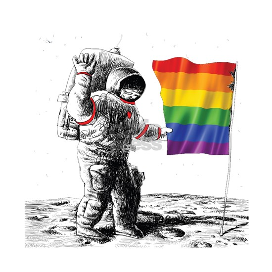 Gay Pride - Man Landing on Moon Rainbow Flag