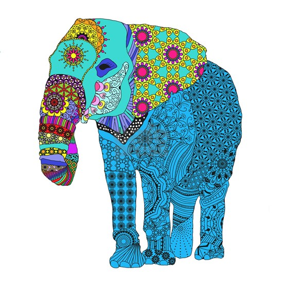 Tangled Elephant Blue