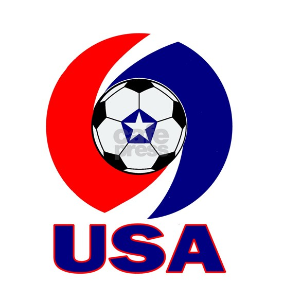 Soccer ball with USA in red and blue