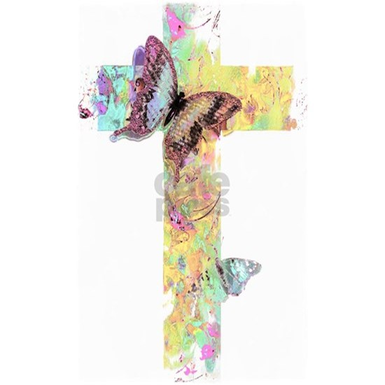 Pastel floral cross and butterflies