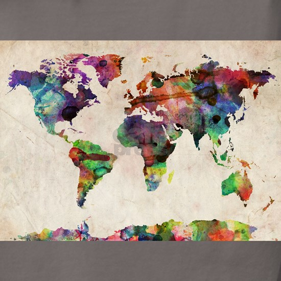 World Map Urban Watercolor 14x10