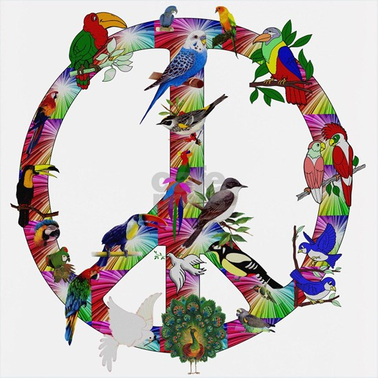 Colorful Birds Peace Sign
